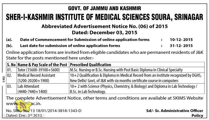 JOBS IN SHER-I-KASHMIR INSTITUTE OF MEDICAL SCIENCES SOURA, SRINAGAR