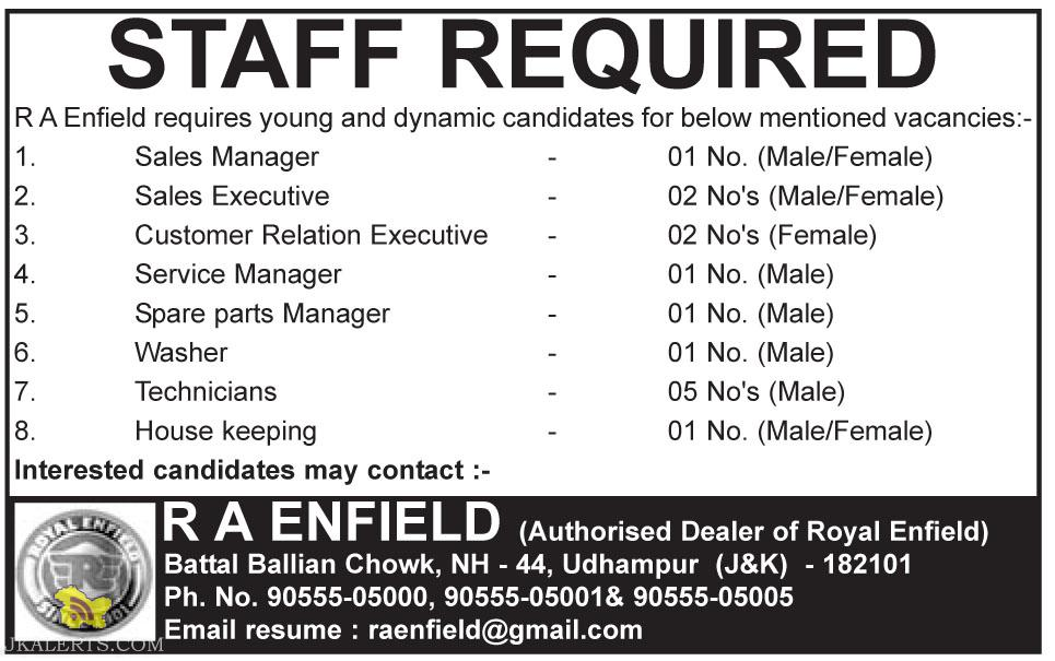 STAFF REQUIRED R A Enfield requires young and dynamic candidates