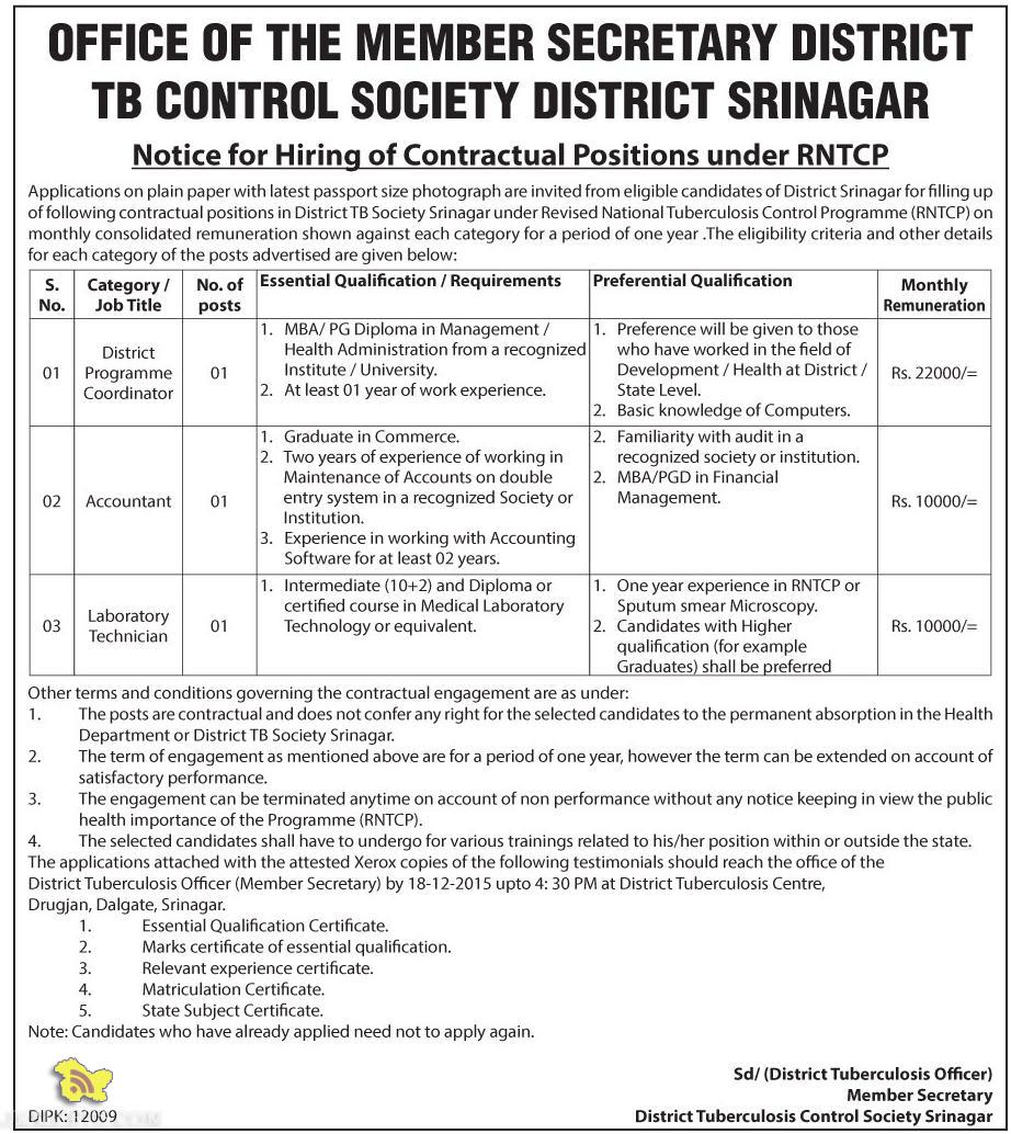 JOBS IN DISTRICT TB CONTROL SOCIETY DISTRICT SRINAGAR