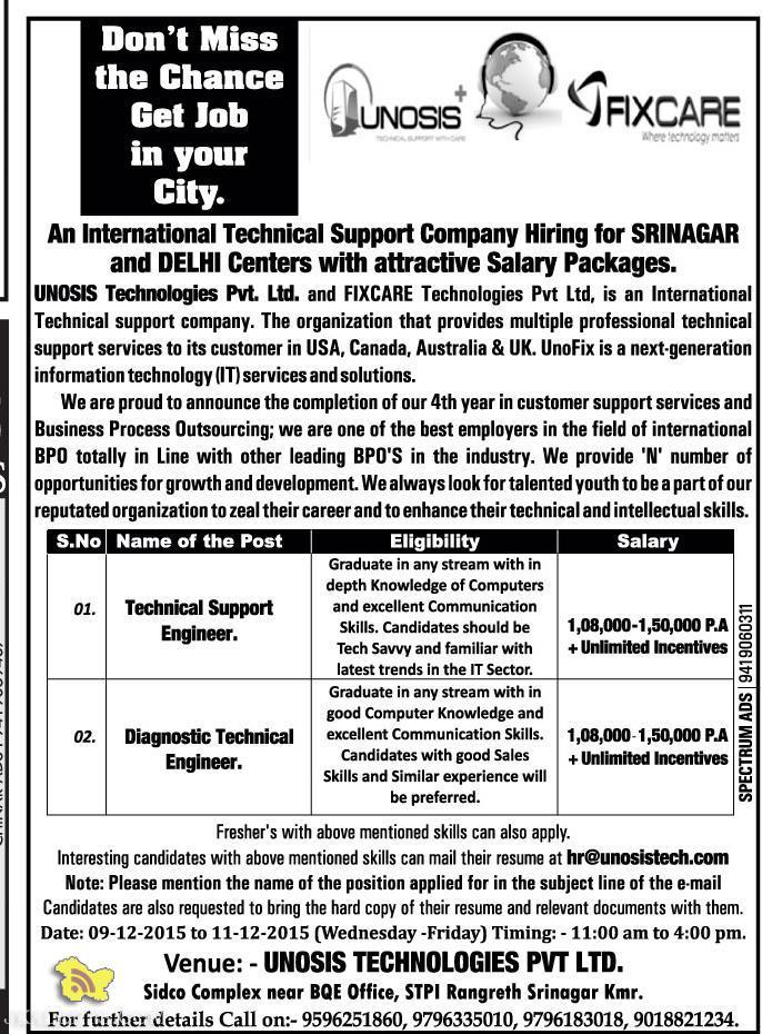 International Technical Support Company Hiring for SRINAGAR and DELHI Centers