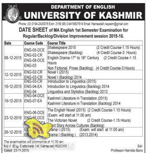 Kashmir University DATE SHEET of MA English 1st Semester
