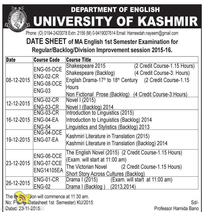 Kashmir University DATE SHEET of MA English 1st Semester