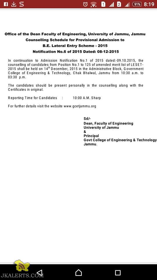 Counselling Schedule for Provisional Admission to B.E. Lateral Entry Scheme - 2015 Jammu University
