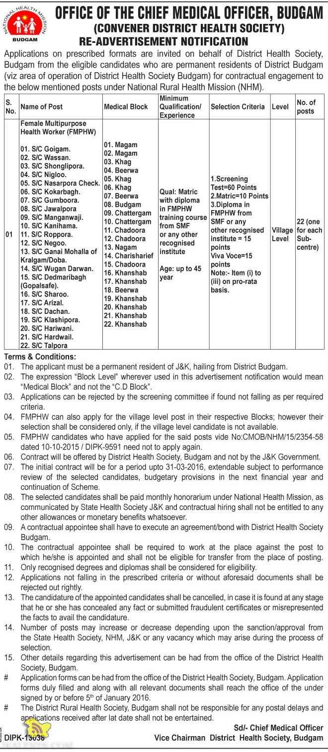 FMPHW Jobs in District Health Society