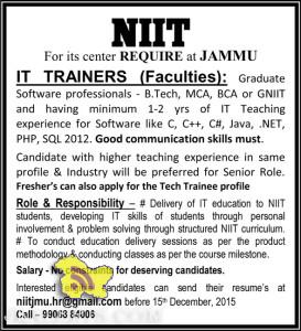 NIIT REQUIRE IT TRAINERS AT JAMMU