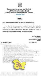 JKSSB Postponement of Written Test on 26th of December. 2015.
