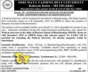 Research Associate Jobs in SHRI MATA VAISHNO DEVI UNIVERSITY Kakryal, Katra