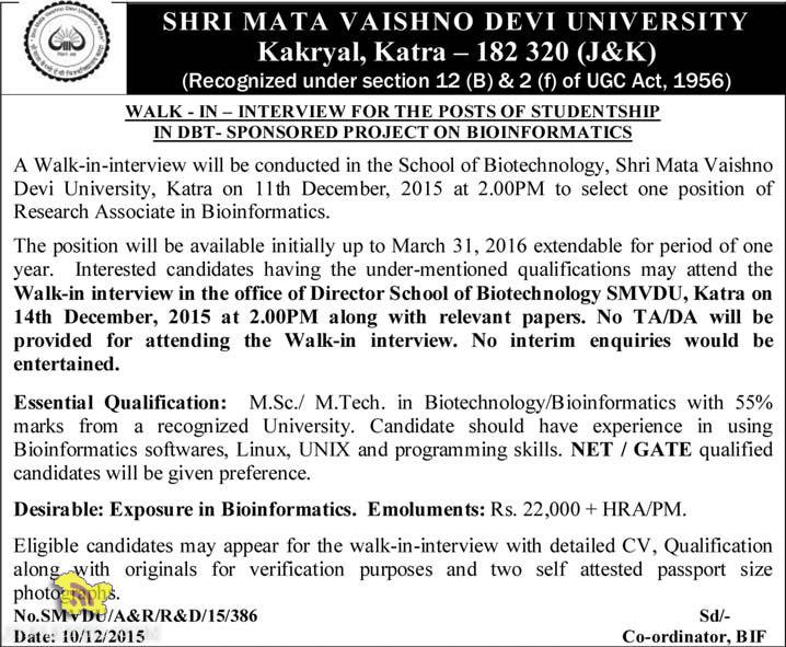 Research Associate Jobs in SHRI MATA VAISHNO DEVI UNIVERSITY Kakryal, Katra