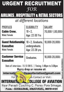 RECRUITMENT FOR AIRLINES, HOSPITALITY & RETAIL SECTORS