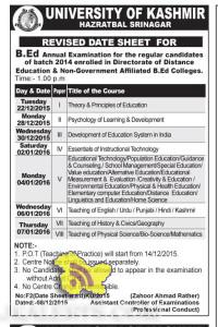 REVISED DATE SHEET FOR B.Ed UNIVERSITY OF KASHMIR HAZRATBAL SRINAGAR
