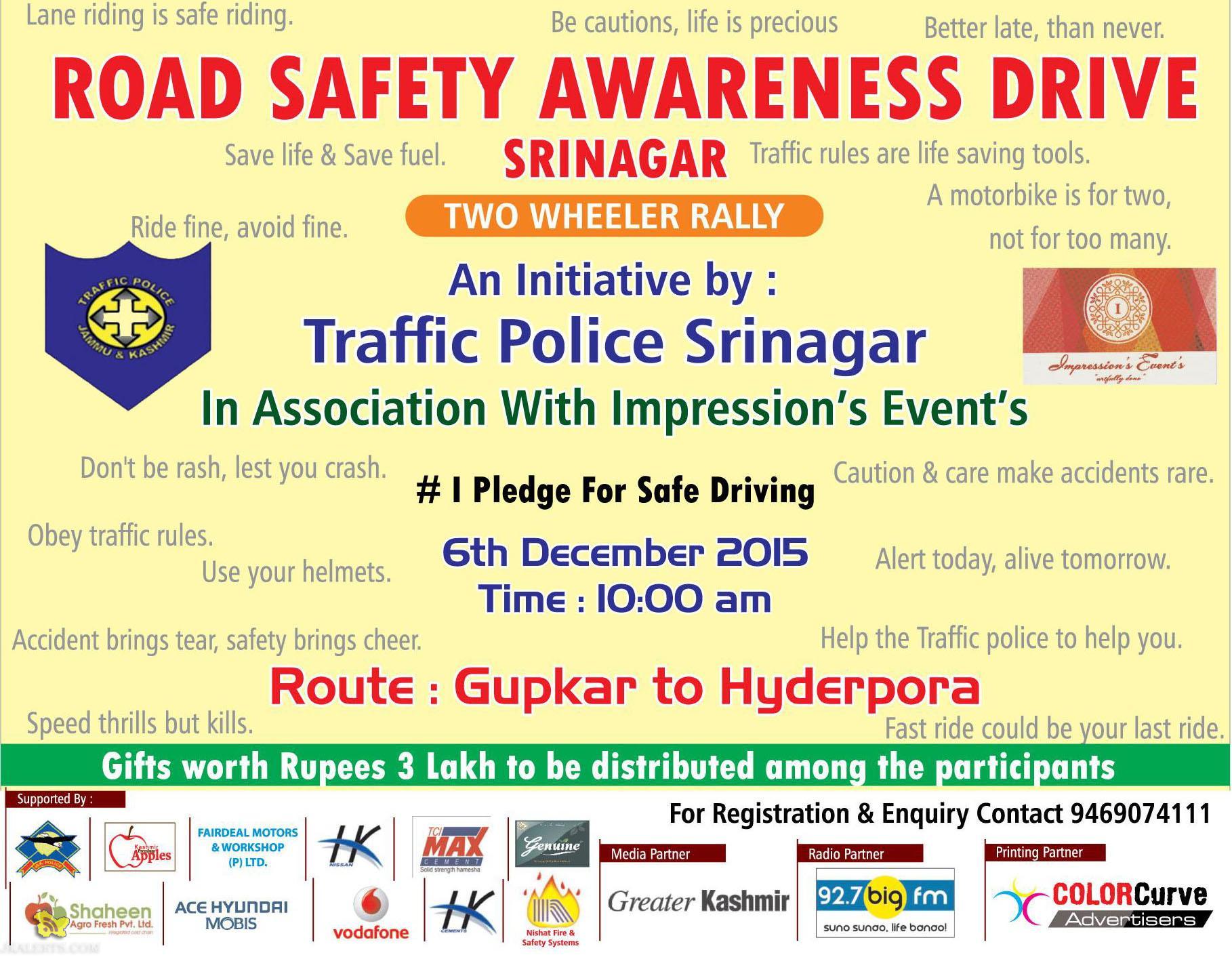 ROAD SAFETY AWARENESS DRIVE SRINAGAR, Traffic Police Srinagar