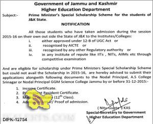 Prime Minister's Special Scholarship Scheme for the students of J&K State