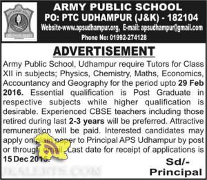 Army Public School, Udhampur require Tutors , Employment news APS Udhampur