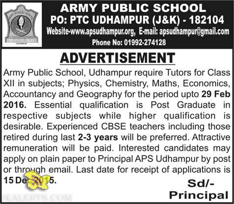 Army Public School, Udhampur require Tutors , Employment news APS Udhampur