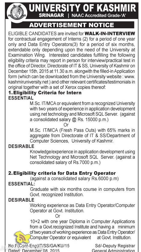 WALK-IN-INTERVIEW FOR Intern, Data Entry Operator IN KASHMIR UNIVERSITY