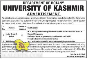 Junior Research Fellow, Field Assistant Jobs in University of kashmir