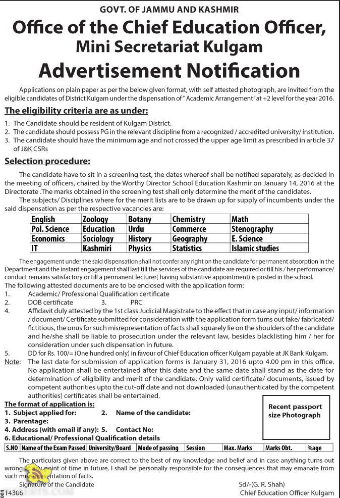 Academic Arrangement at +2 level for the year 2016