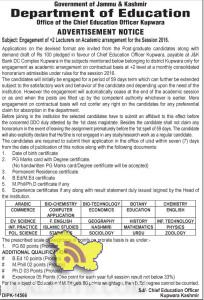 Teaching Jobs, Engagement of +2 Lecturers on Academic arrangement for the Session 2016 Kupwara