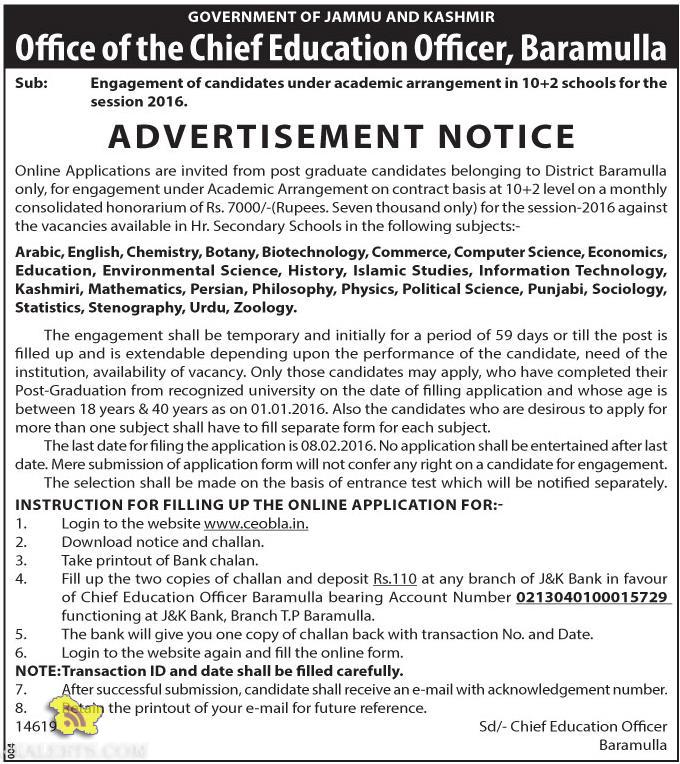 J&K Academic Arrangement Jobs 2016-2017 as lecturer