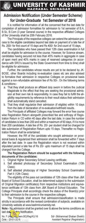 University of kashmir Admission Notification (Under Semester Scheme) for Under-Graduate B.A, B.Sc, B.Com 2016 http://goo.gl/XCr4Ce