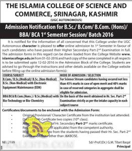 Admission Notification for B.Sc./ B.Com/ B.Com. (Hons)/ BBA/ BCA THE ISLAMIA COLLEGE OF SCIENCE AND COMMERCE, SRINAGAR, KASHMIR