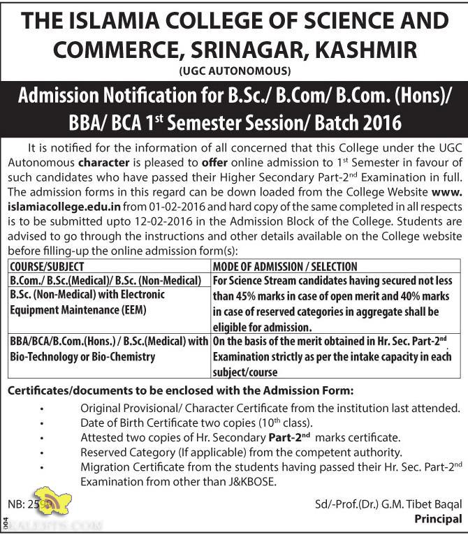 Admission Notification for B.Sc./ B.Com/ B.Com. (Hons)/ BBA/ BCA THE ISLAMIA COLLEGE OF SCIENCE AND COMMERCE, SRINAGAR, KASHMIR