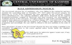 CENTRAL UNIVERSITY OF KASHMIR B.Ed ADMISSION NOTICE