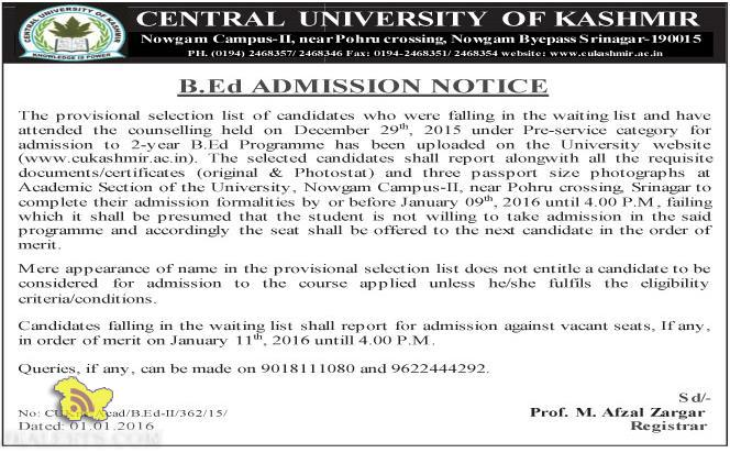 CENTRAL UNIVERSITY OF KASHMIR B.Ed ADMISSION NOTICE