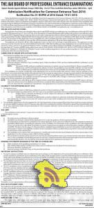 JKBOPEE Admission Notification for CET -2016 for various Professional Courses