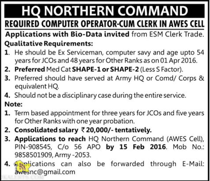 COMPUTER OPERATOR-CUM CLERK JOBS IN AWES CELL