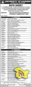 KASHMIR UNIVERSITY M.A/M.Sc./M. Com. 1st and 2nd Semesters datesheet