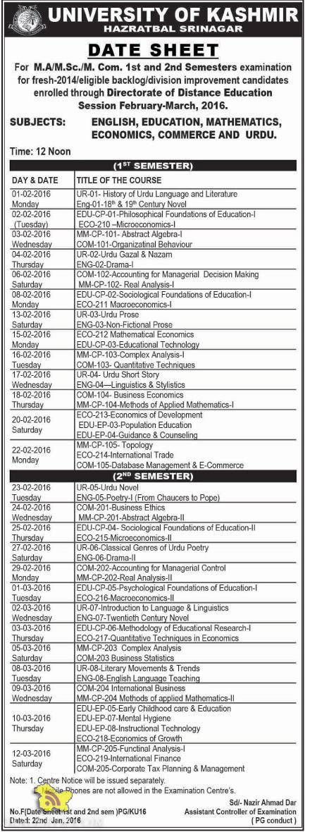 KASHMIR UNIVERSITY M.A/M.Sc./M. Com. 1st and 2nd Semesters datesheet