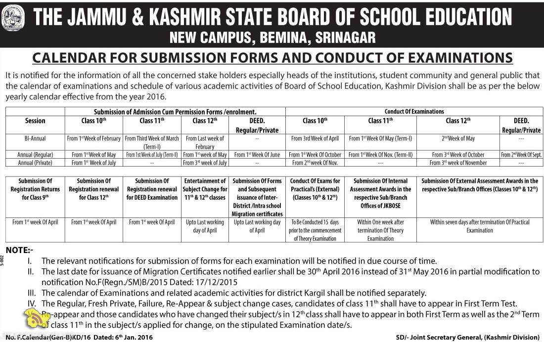 JKBOSE CALENDAR FOR SUBMISSION FORMS AND CONDUCT OF EXAMINATIONS
