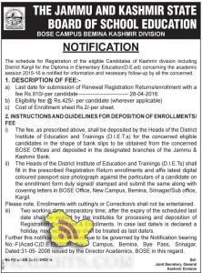JKBOSE admission open for Diploma in Elementary Education (D.E.ed)
