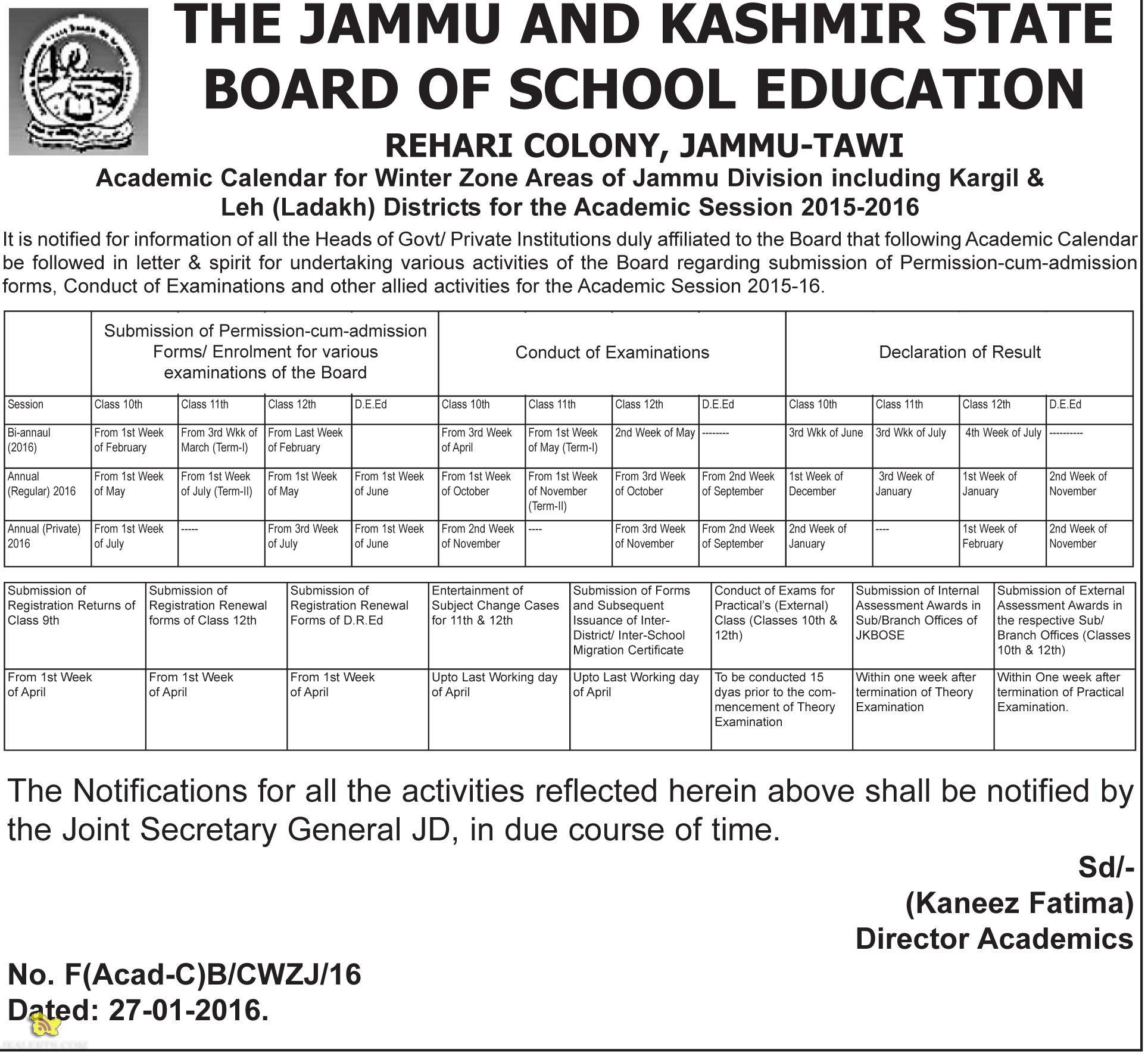 JKBOSE Academic Calendar for Jammu Division Kargil & Leh (Ladakh) for the Academic Session 2015-2016