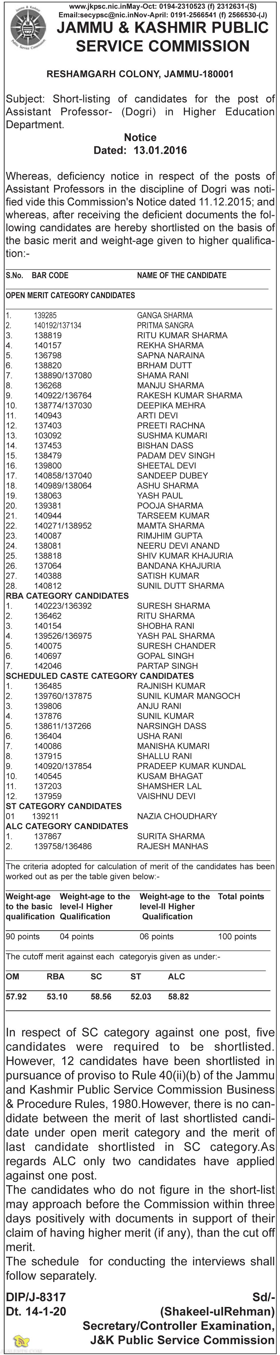 JKPSC Shortlisted candidates for Assistant Professor in Higher Education DepartmentJKPSC Shortlisted candidates for Assistant Professor in Higher Education Department