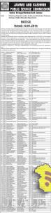 JKPSC Deficiency/Rejection notice for the post of Assistant Professor Higher Education Department