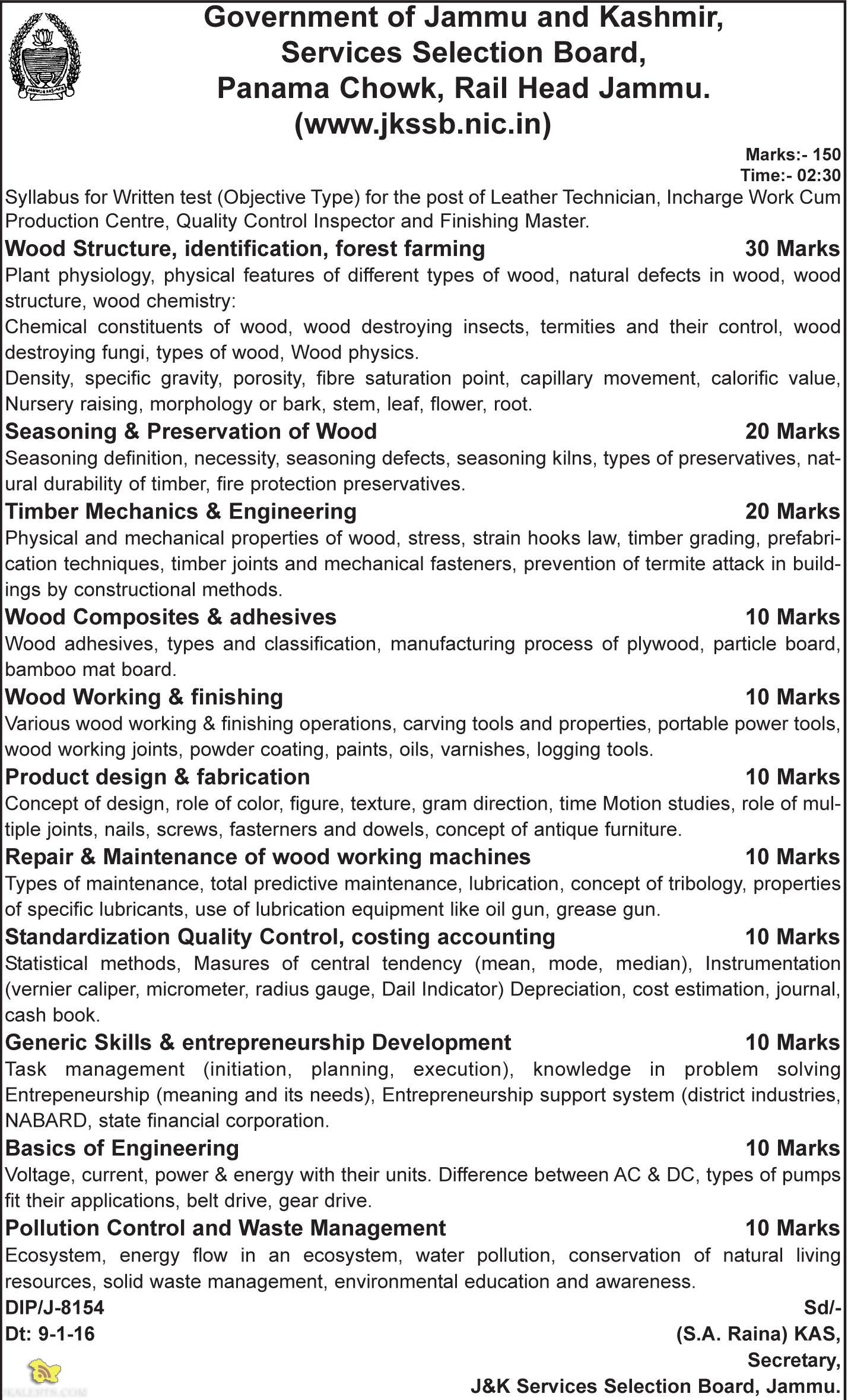 JKSSB Syllabus for Leather Technician, Incharge Work Cum Production Centre, Quality Control Inspector and Finishing Master