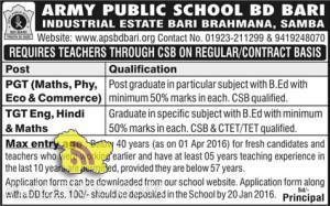 JOBS IN ARMY PUBLIC SCHOOL BD BARI