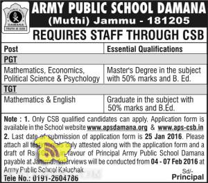 PGT TGT TEACHING JOBS IN ARMY PUBLIC SCHOOL DAMANA (Muthi)