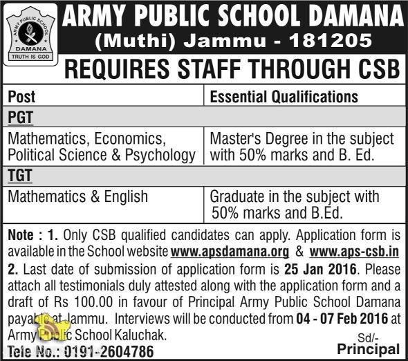PGT TGT TEACHING JOBS IN ARMY PUBLIC SCHOOL DAMANA (Muthi)