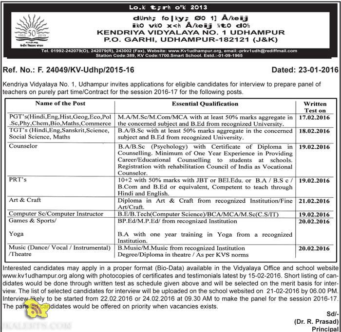 Jobs in KV No1 Udhampur
