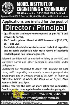 JOBS IN MODEL INSTITUTE OF ENGINEERING & TECHNOLOGY