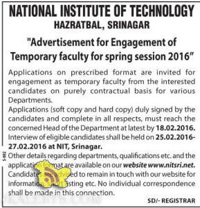 JOBS IN NATIONAL INSTITUTE OF TECHNOLOGY HAZRATBAL, SRINAGAR