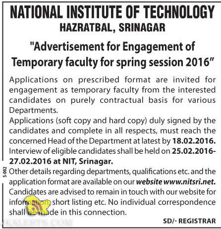 JOBS IN NATIONAL INSTITUTE OF TECHNOLOGY HAZRATBAL, SRINAGAR