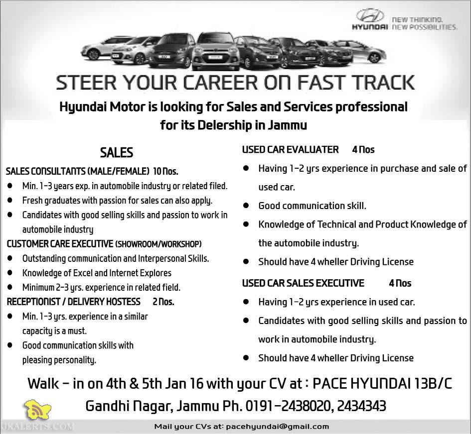 Jobs in PACE Hyundai in Sales and Services Gandhi Nagar