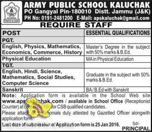 PGT, TGT Jobs in army public school Kaluchak