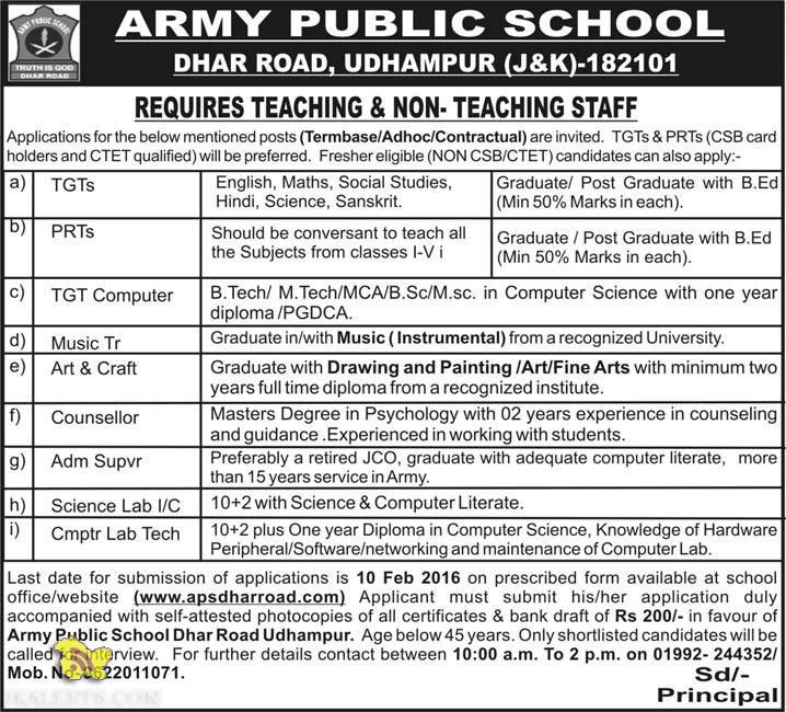 ARMY PUBLIC SCHOOL DHAR ROAD. UDHAMPUR REQUIRES TEACHING & NON- TEACHING STAFF