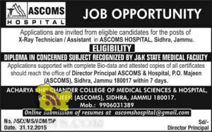 X-Ray Technician / Assistant Jobs in ASCOMS HOSPITAL, Sidhra, Jammu