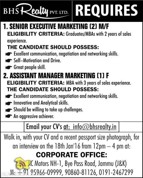 ASSISTANT MANAGER, SENIOR EXECUTIVE MARKETING JOBS IN BHS Realty